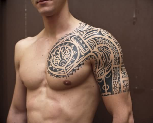 Aztec Man Chest And Half Sleeve Quarter Sleeve Tattoos Tribal