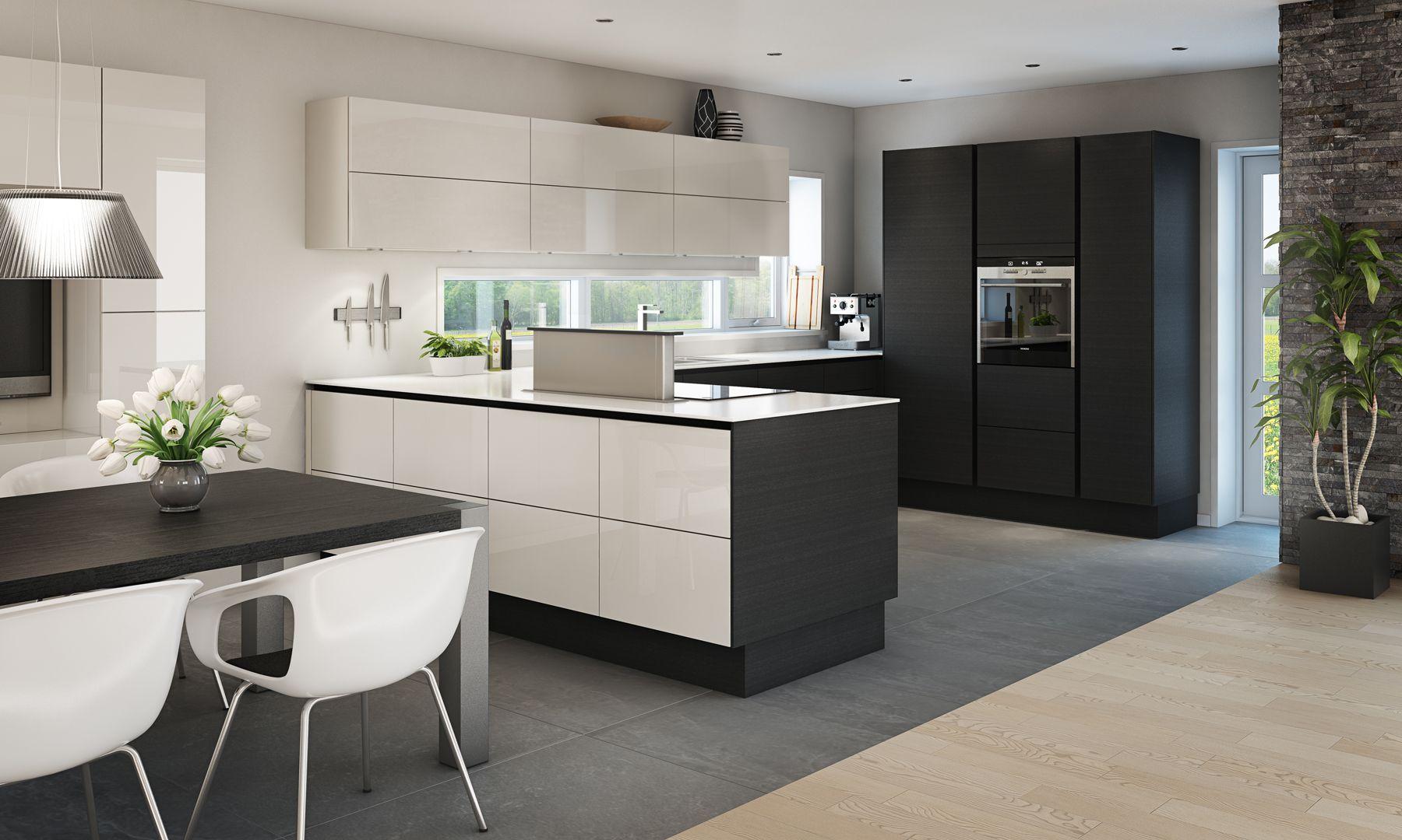 black wood / white modern kitchen Køkkendesign, Køkken