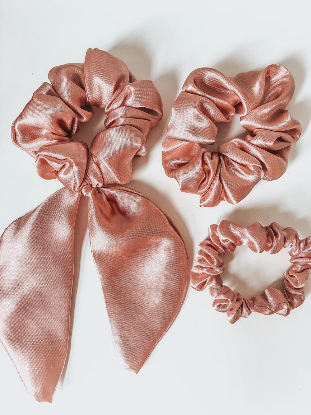 Rose Gold Satin Scrunchie – 90s Glam Hair Tie Bobble Band Silk Satin Gift Shine Hairstyle Hairdo Occasion