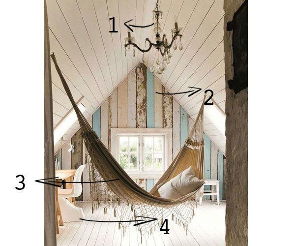 Stoere slaapkamer met hangmat steiger behang | Slaapkamer | Pinterest
