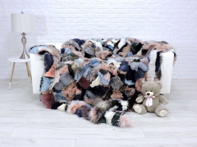 Luxury Real Fox Fur Throw Blanket