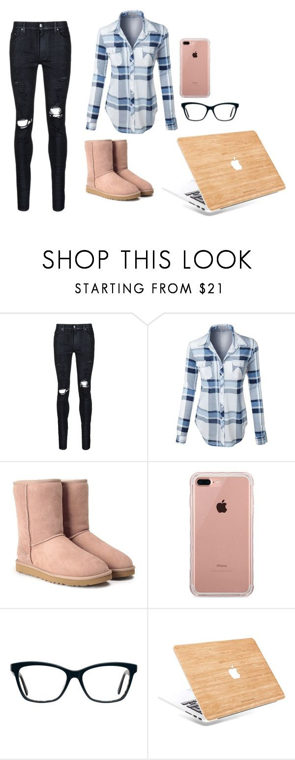 """""""Gone Geek"""" by livvydubs ❤ liked on Polyvore featuring AMIRI, LE3NO, UGG and Belkin"""