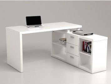 Bureau dangle avec rangements aldric iii blanc casa pinterest