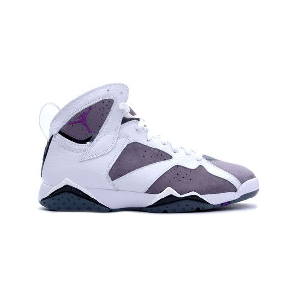 sports shoes 78bf3 760b8 Air Jordan 7 (VII) Retro White   Varsity Purple - Flint Grey  ... ❤ liked  on Polyvore featuring shoes, jordans and sneakers