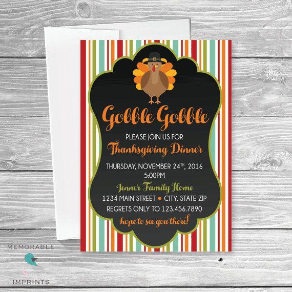 Thanksgiving Dinner Invitation - Thanksgiving Invitations - Fall - printable dinner invitations