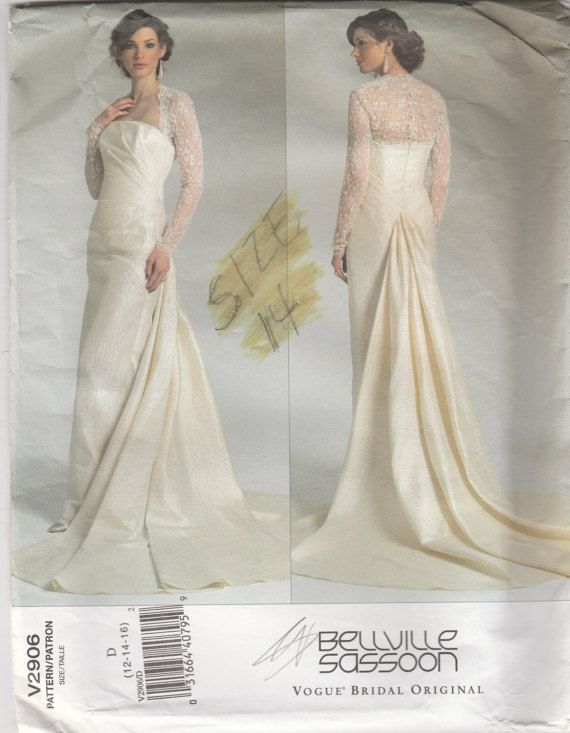 Stunning Wedding Dress Pattern Vogue 2906 Sizes 12  16 Uncut