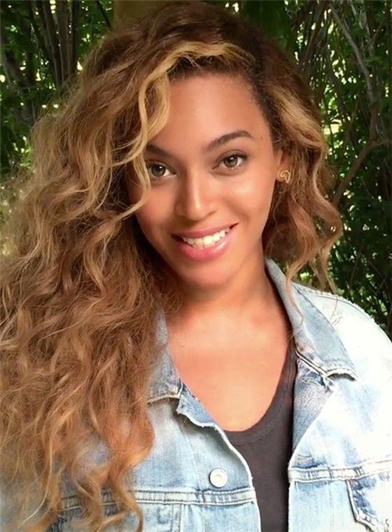 Beyonce Long Curly Lace Front Human Hair Wig 22 Inches In