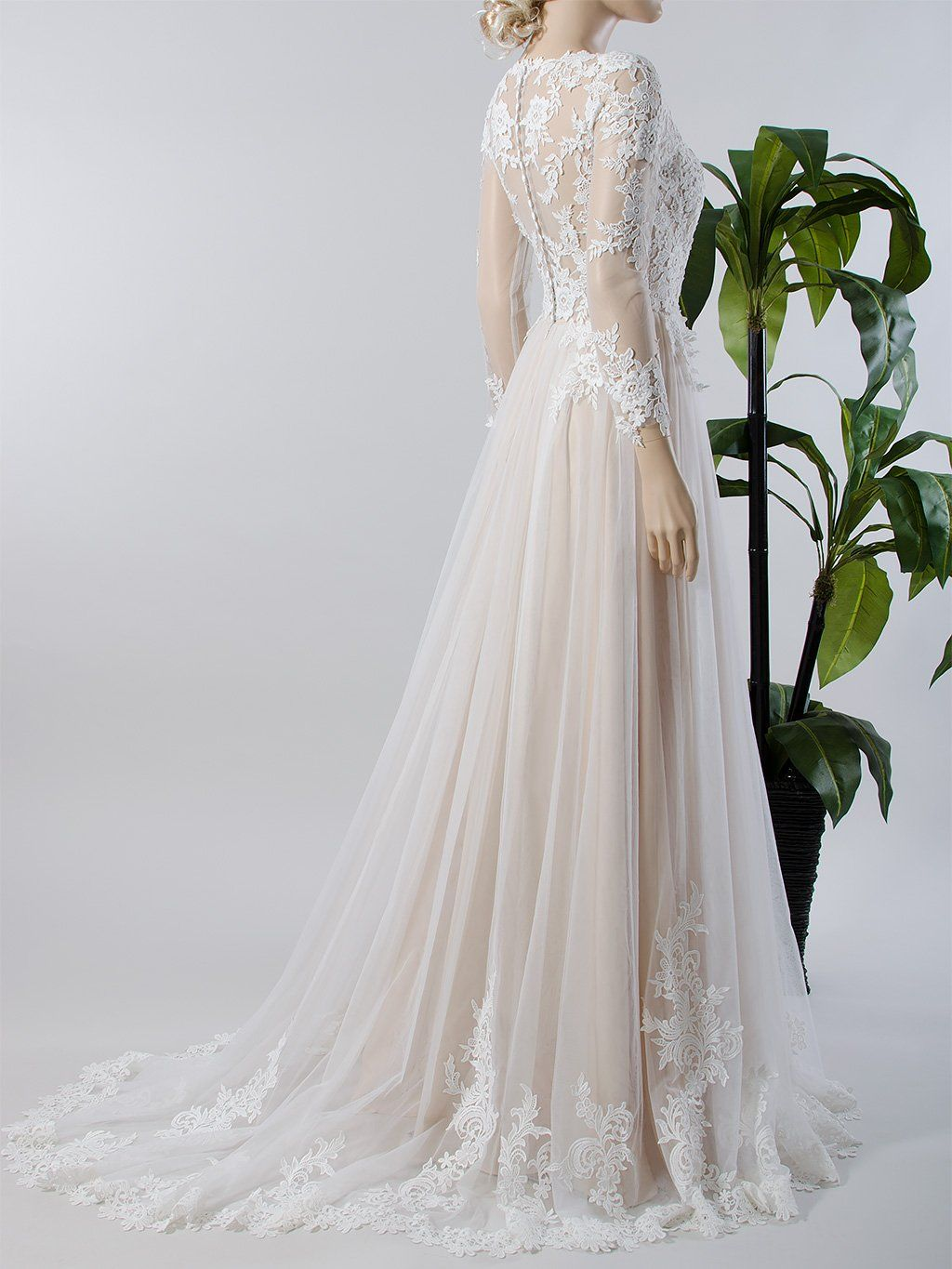 Long Sleeve Lace Wedding Dress With Tulle Skirt 4018 Lace Wedding