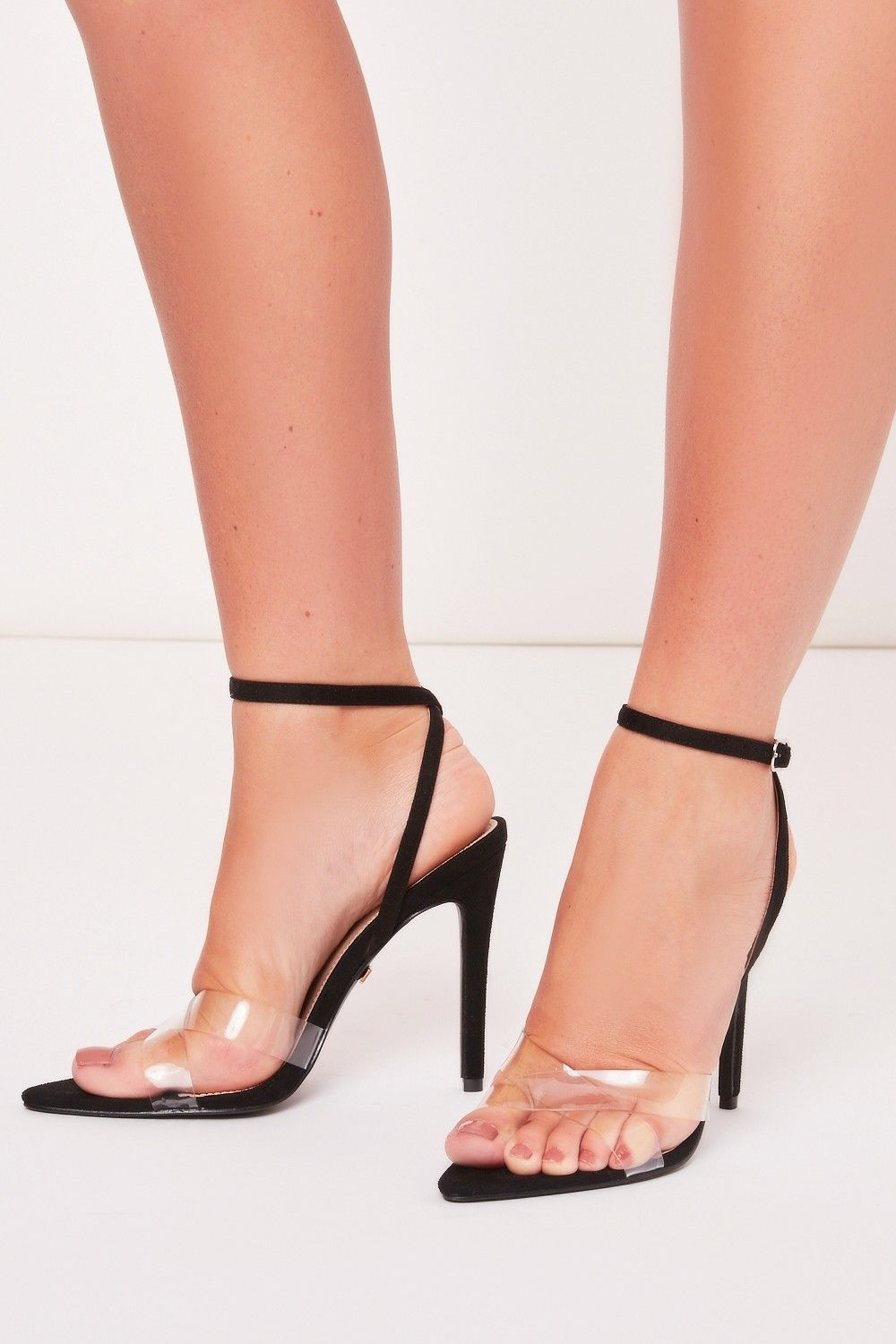 c7ff3a1580b Sofia Black Clear Pointed Barely There Heels | Shoes | Heels, Shoes ...