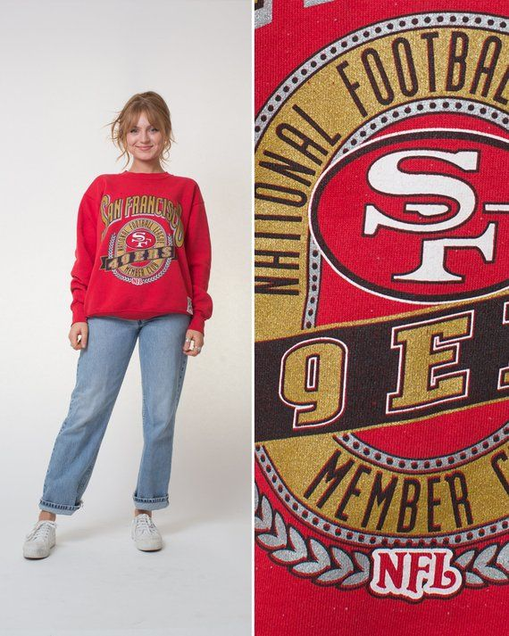 1e1bfb208 SAN FRANCISCO 49ers sweatshirt Vintage 90s LARGE mens women's football  sports team baggy red and gol