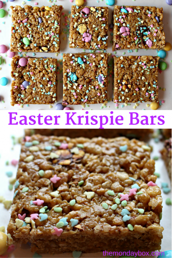 Easter Krispie Bars (GF)- Easy, no-bake recipe for a chewy treat speckled in spring colors and celebration ready in minutes! | The Monday Box