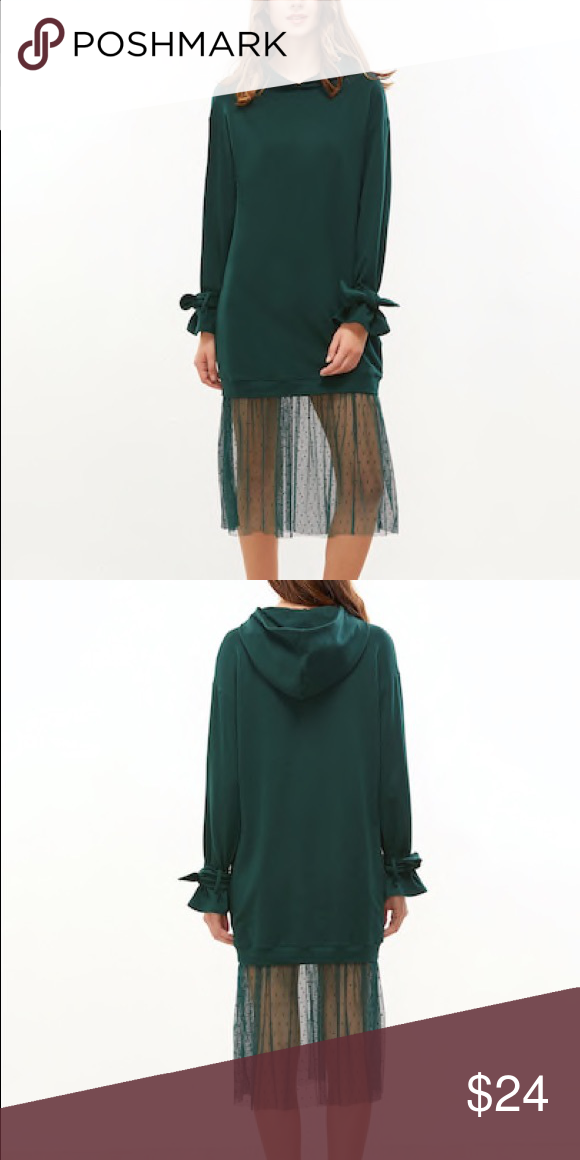 71560dee2 Hooded Sweatshirt Dress Tie Cuffs Tulle Bottom Dark Forest Green Color  Heavyweight Perfect For Fall/Winter! Dresses Long Sleeve
