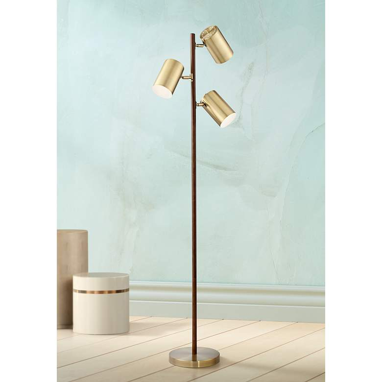 Donatello Walnut And Brass 3 Light Tree Floor Lamp 18x01 Lamps Plus In 2020 Tree Floor Lamp White Floor Lamp Lamp