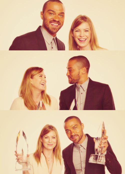 Ellen Pompeo & Jesse Williams; Grey's all the way.