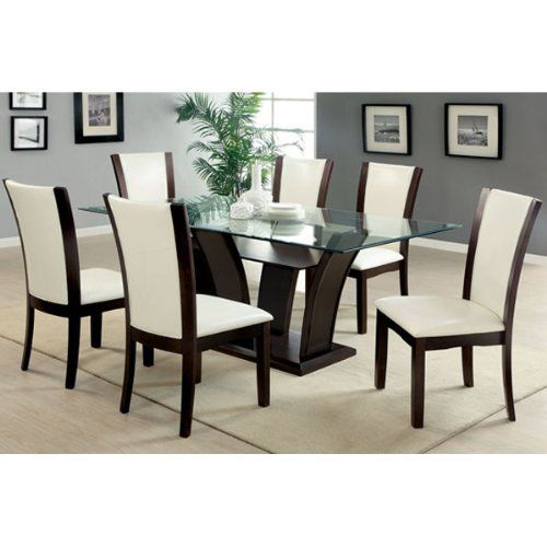 Incroyable Manhattan Dark Cherry Finish Glass Top 7 Piece Dining Table Set / Ivory  White Leatherette