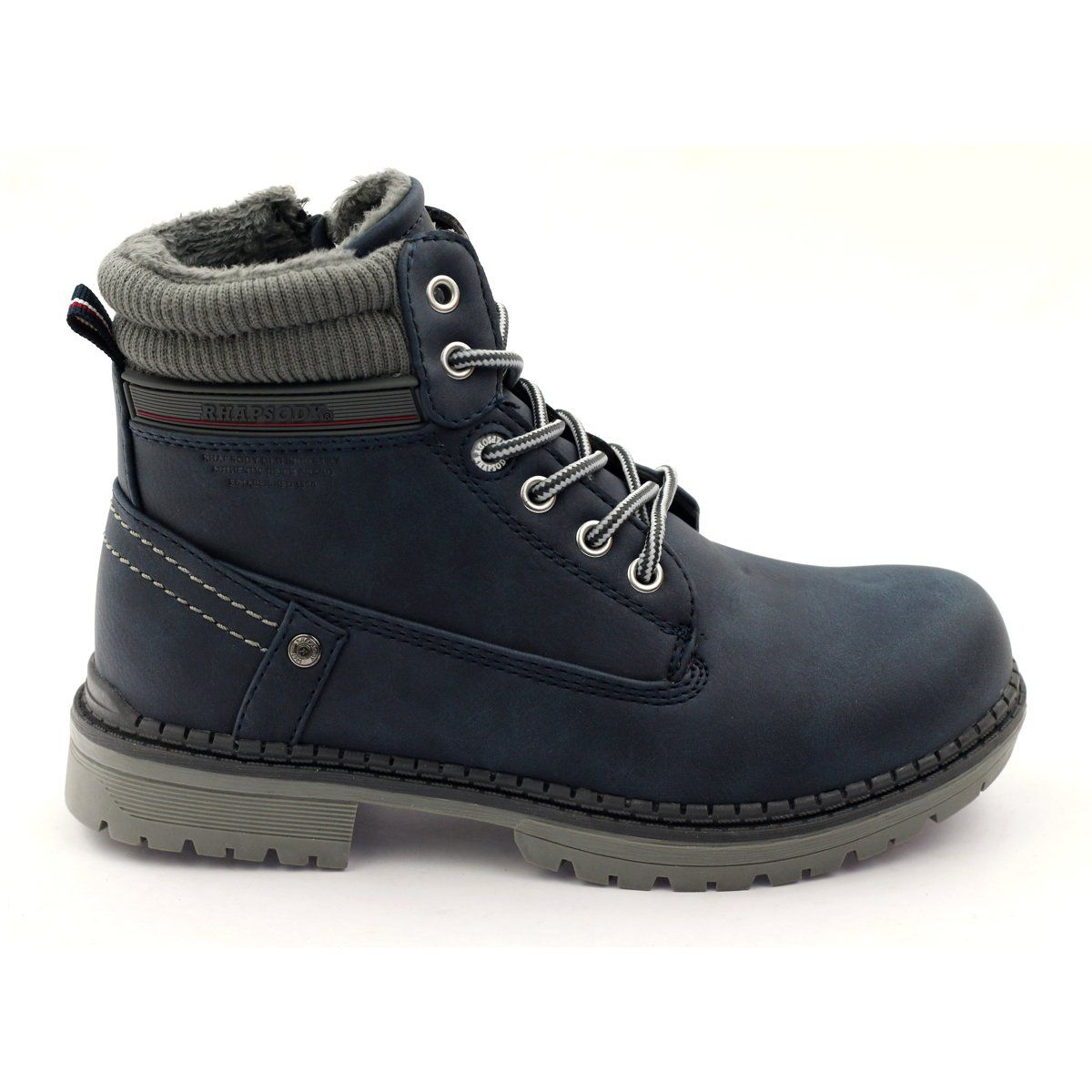 American Club Boots Shoes American 808123 Slider Navy Grey Boots Shoe Boots Kid Shoes