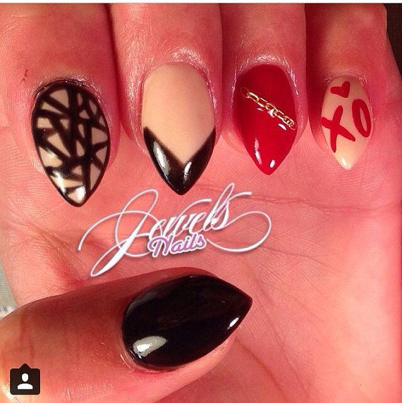Trapped with Kisses Xo and Random Stiletto nails by JEWELSNAILS ...