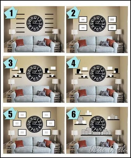 With The Large Mirror In The Center Adding A Shelf Above The Couch.wall  Collage Ideas Around A Clock. Ideas To Use With Our Big Clock In Living Room . Nice Ideas
