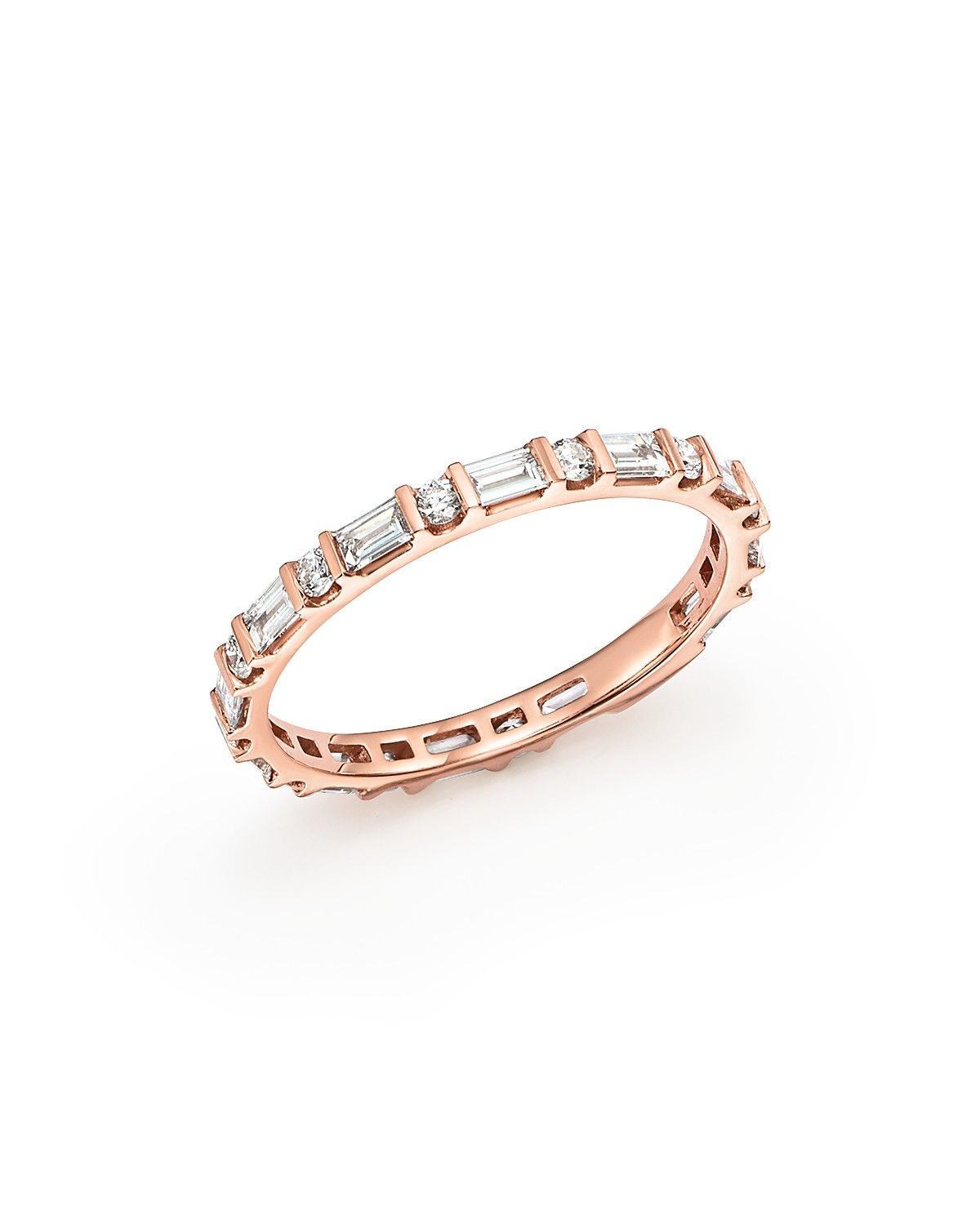 Bloomingdales Diamond Round Baguette Band in 14K Rose Gold 055