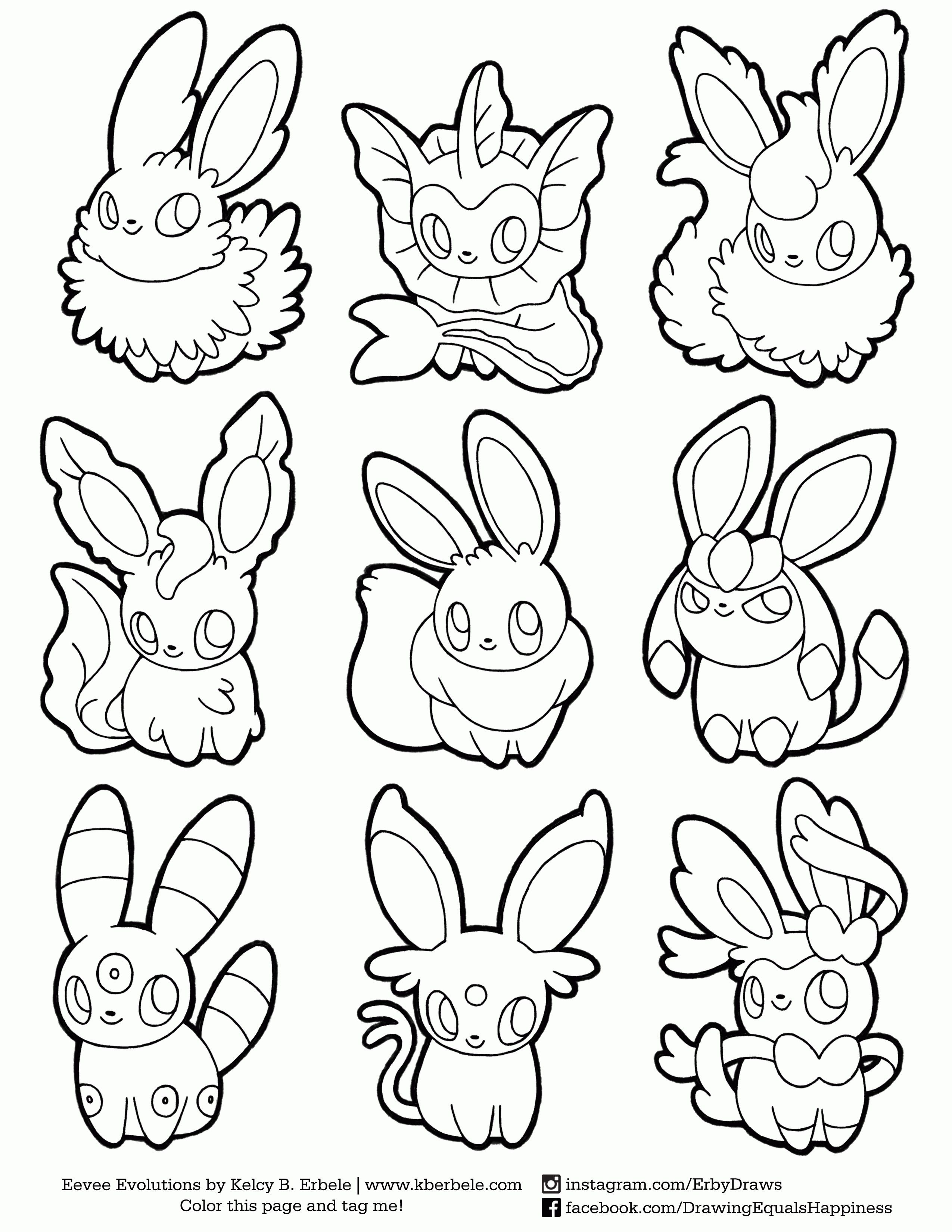 Pokemon Coloring Pages Eevee Evolution From the thousand