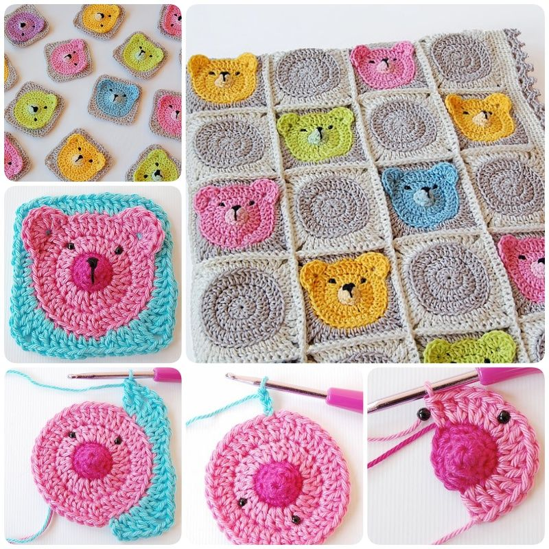 Crochet Teddy Bear Granny Square Baby Blanket | Pinterest ...