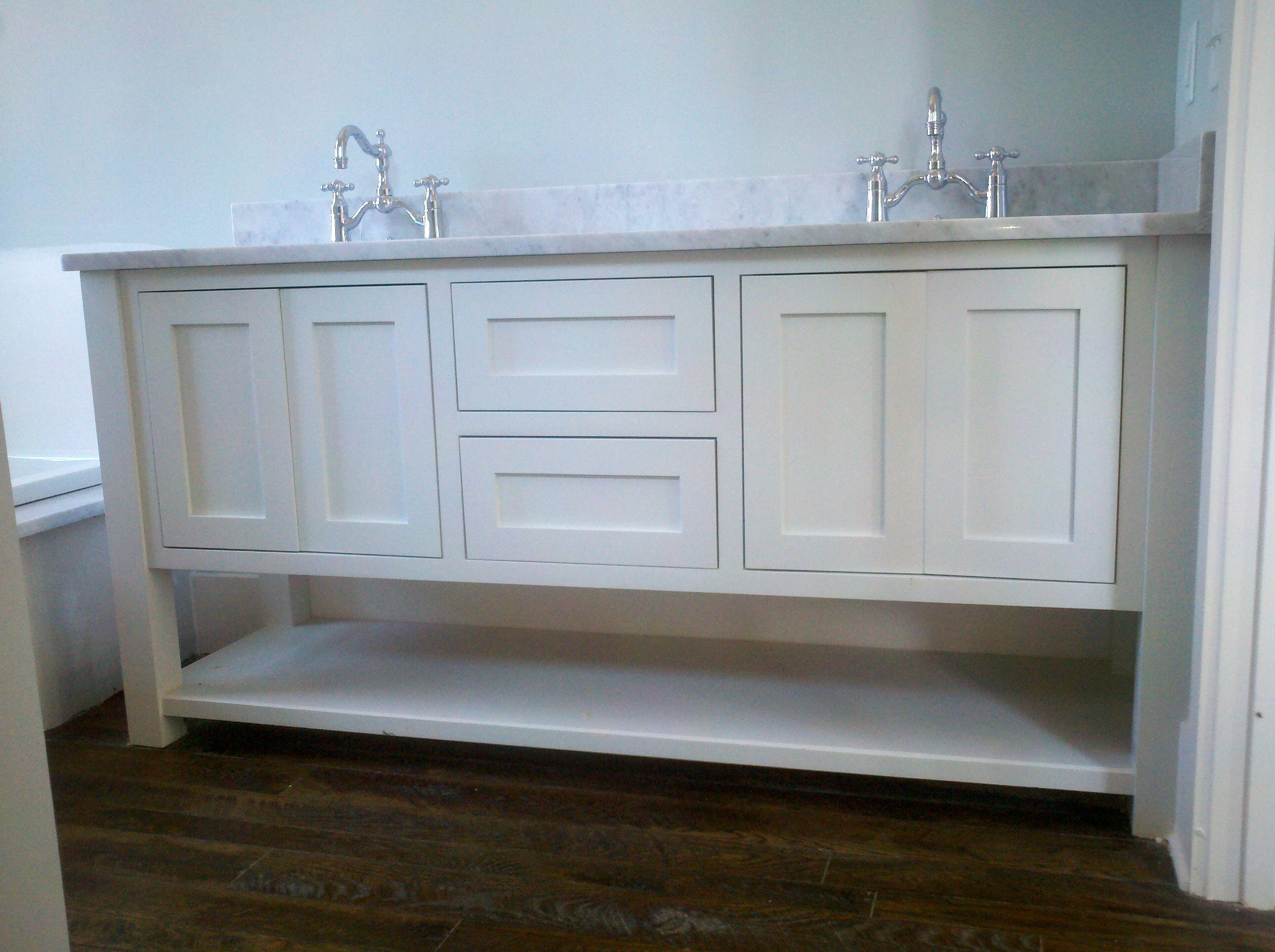 Custom Cabinet Furniture Bath Vanity, Inset Shaker Style Doors, Painted Finish, Arts