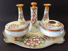 Antique Austria MZ Limoges France Hand Painted Vanity Dresser Tray Set Signed