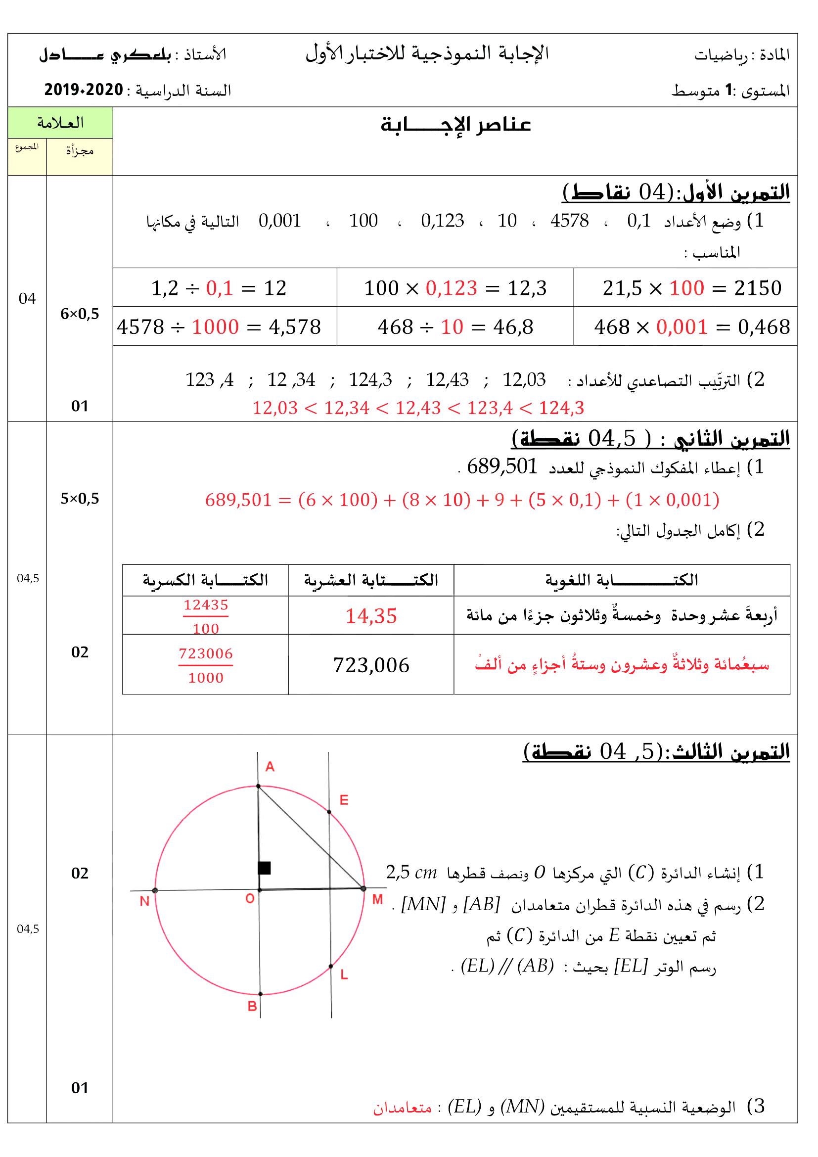 1am Exams Math فروض و اختبارات السنة أولى متوسط مادة الرياضيات الفصل الأول 2019 2020 النموذج 01 Math Chart Exam