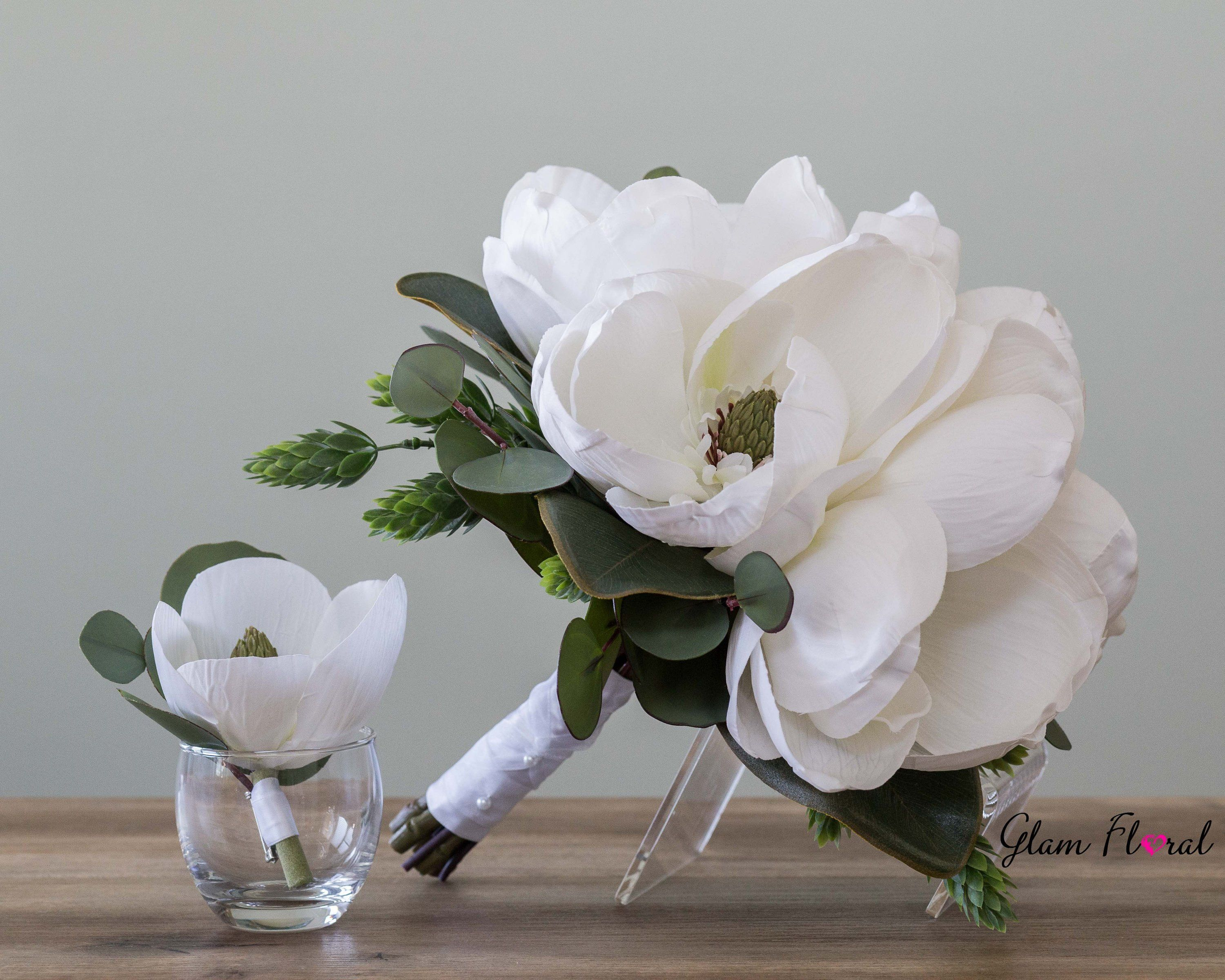White Magnolia Wedding Bouquet Silk Bridal Bouquet Boutonniere Set Real Touch Flowers Magnolias H Flower Bouquet Wedding Wedding Bouquets Magnolia Wedding