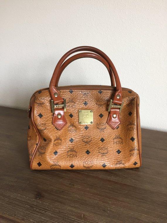 37192cbee76 Vintage MCM Munchen Cognac Leather Boston Bag; Genuine MCM Top Handle Purse;  MCM Leather Bag; Vintag