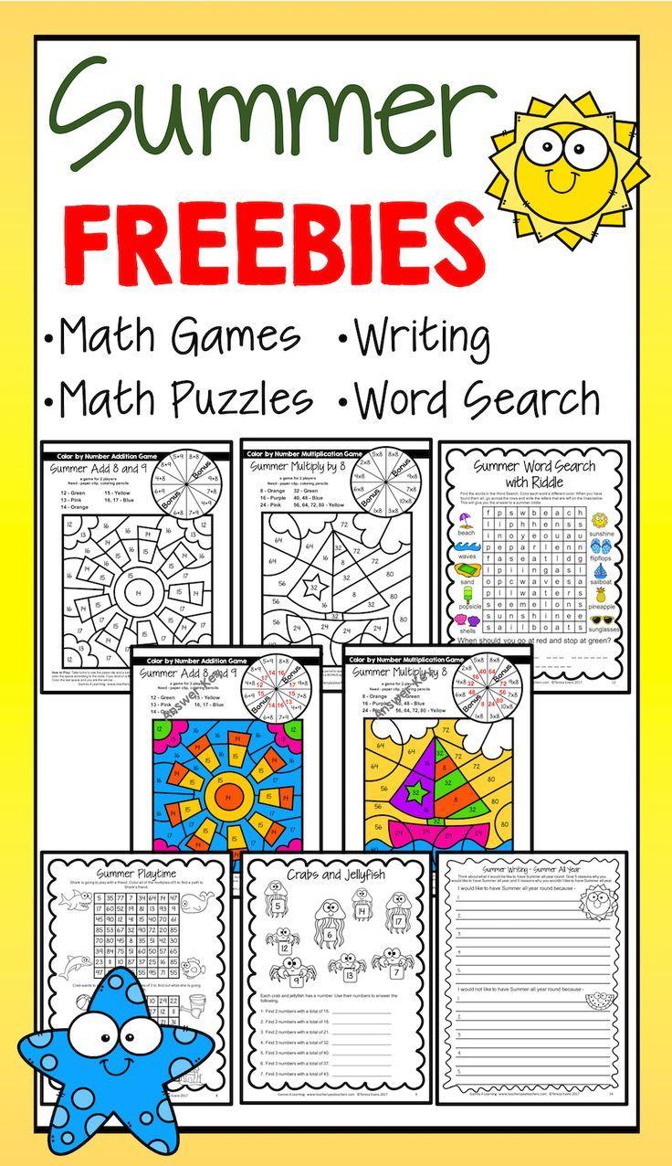 summer freebies summer math games summer writing summer word