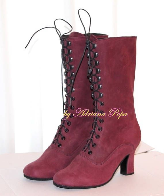 6f06a90ca5b Victorian Boots , Granny Boots , Ankle Boots in Deep rich Plum leather ,  Edwardian Booties , Marsala Boots , Custom made boots