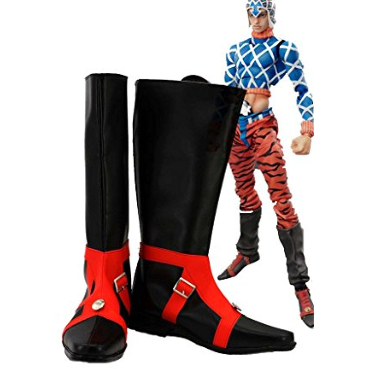 JOJO'S BIZARRE ADVENTURE 5 GUIDO MISTA Cosplay Shoes Black Boots Custom Made
