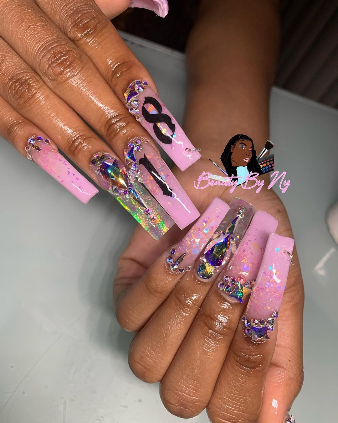 Gvo Negativity 16 Y O On Instagram 18th Birthday Set Used The Glitter Enchantment From Long Acrylic Nails Birthday Nails Birthday Nail Designs
