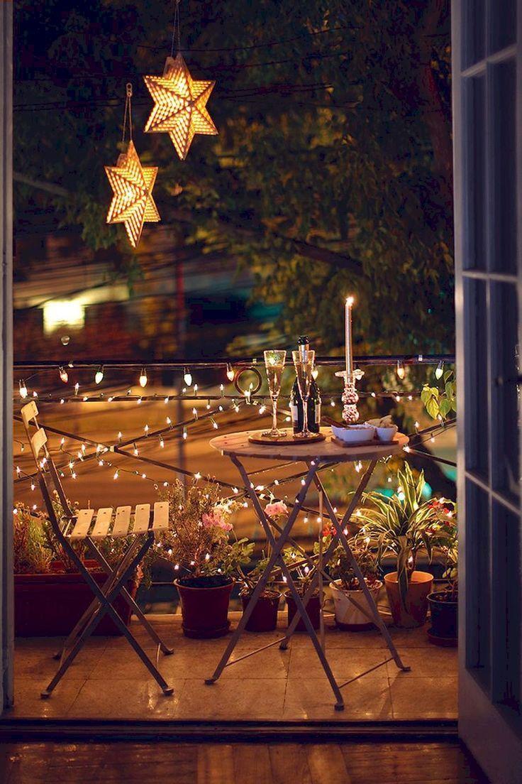 Einfache Beleuchtungsideen zur Verschönerung I - Kleiner Balkon Ideen #balconylighting