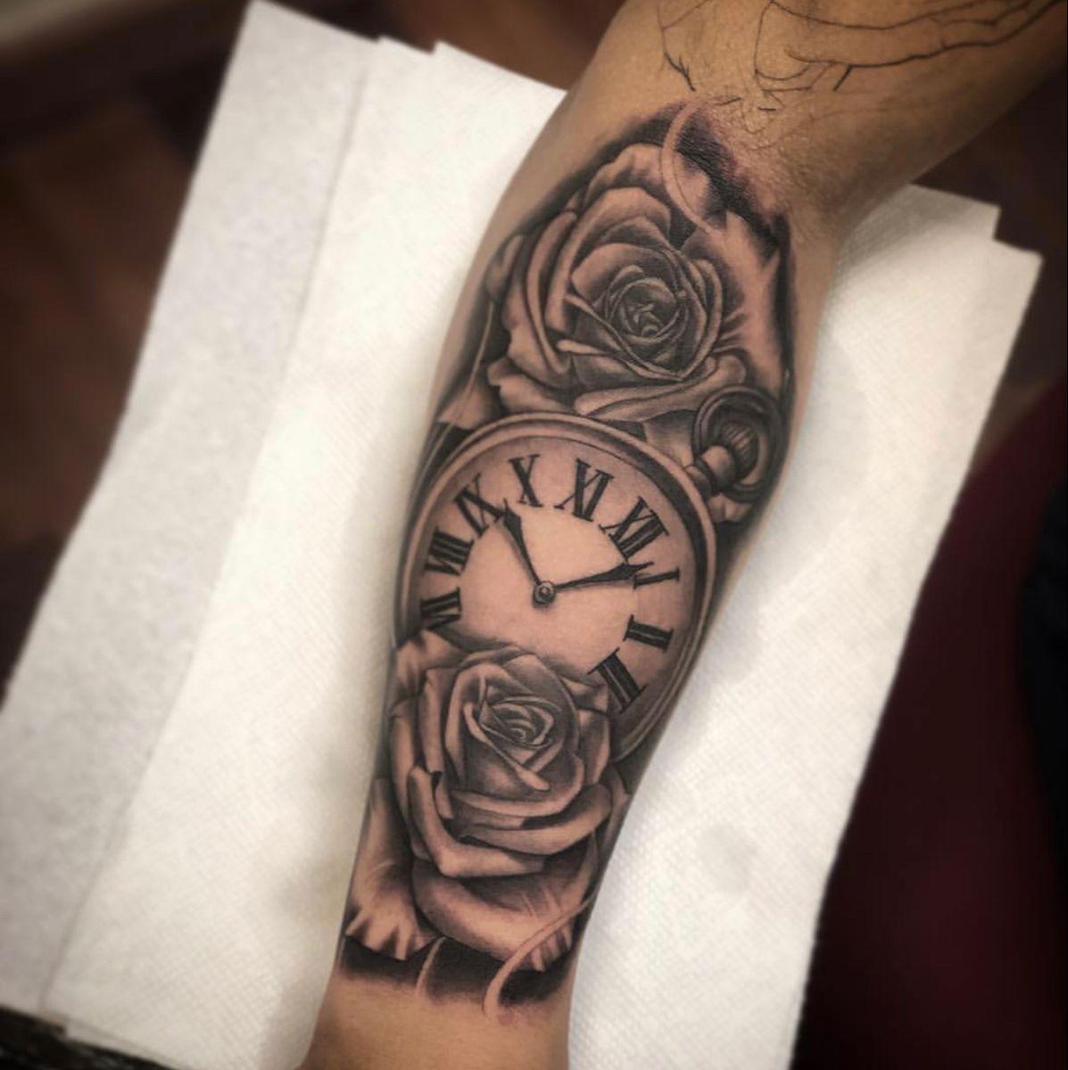 #sleeve #tattoo #tattooideas #tattooartist #tattooart #romannumerals #rose #rosetatto #clocktattoosleeve #explore