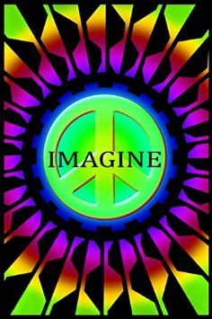 """Imagine Peace Blacklight Poster  Check out the vibrant, bold design of this trippy Imagine Peace Blacklight Poster! Sit back and get lost is the bright psychedelia of this awe-inspiring blacklight poster. Poster measures approximately 24"""" x 36"""" and is the perfect addition to any chill room, dorm room, or bedroom!  #sunshinedaydream #hippieshop"""