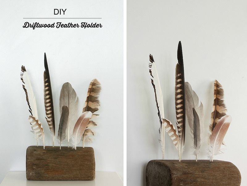 bf361d94d49c9 Driftwood Feather Holder - what a great way to display collected ...