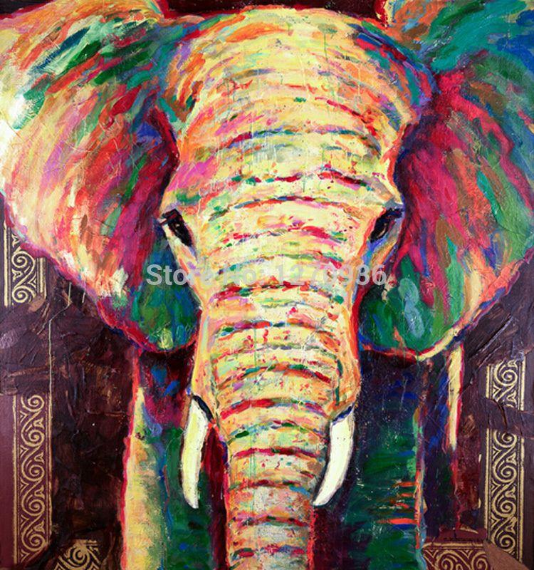 cheap alta calidad y bajo precio mano de pintura elefante pintura al leo en la lona
