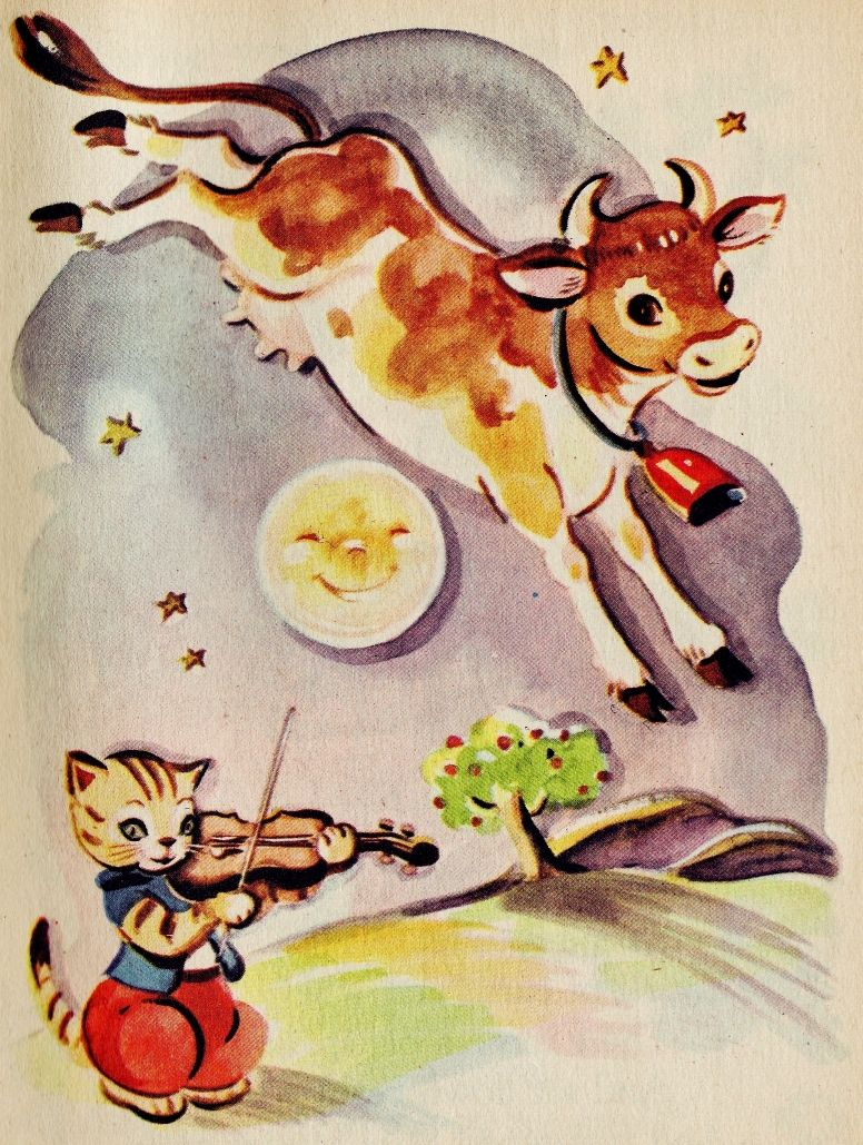 The Cat and the Fiddle Cow illustration, Nursery rhyme