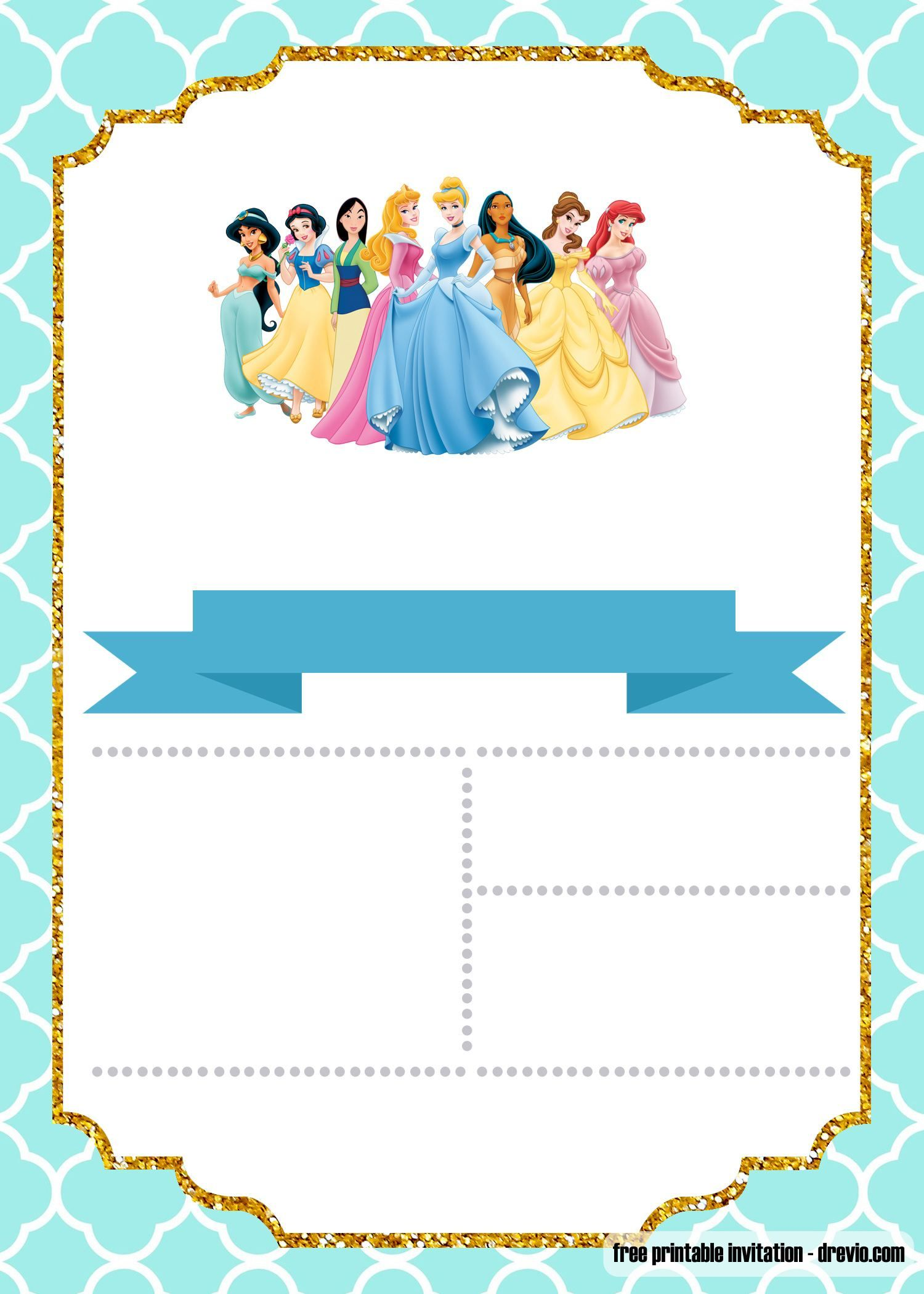 FREE Disney Princess Invitation Template For Your Little Girls