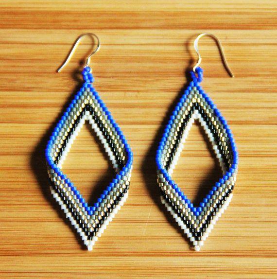 Boucles d'oreilles miyuki losange bleu cobalt en par