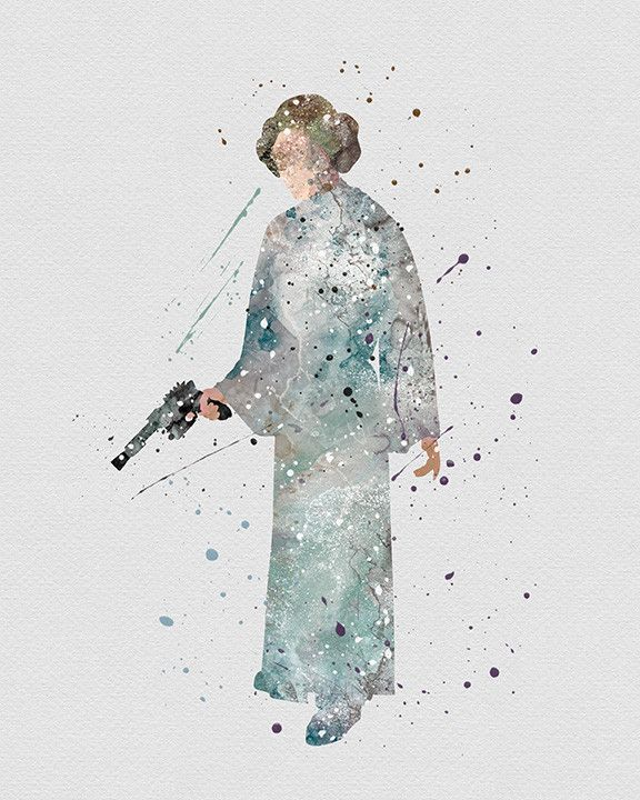 a1b96411a Princess Leia Star Wars Watercolor Art | All geeked out | Star wars ...