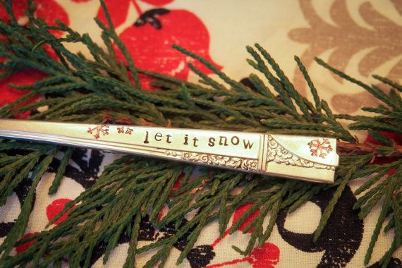 let it snow Stamped Silverplate Teaspoon by mouseandmarmot on Etsy