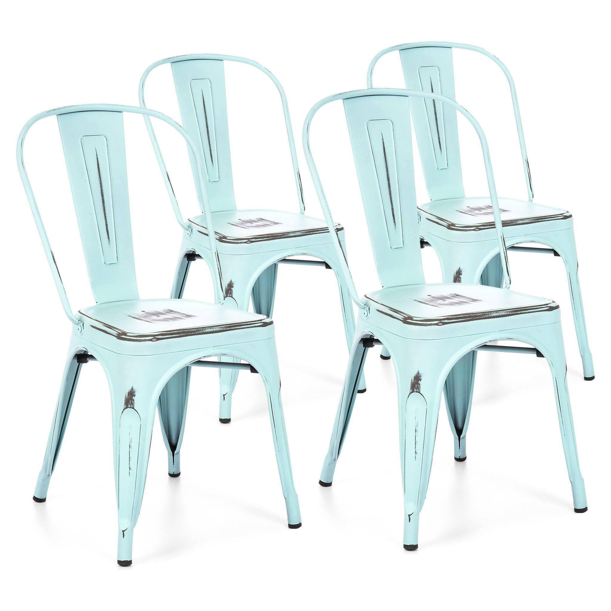 Set of 4 Industrial Metal Dining Chairs Distressed Blue