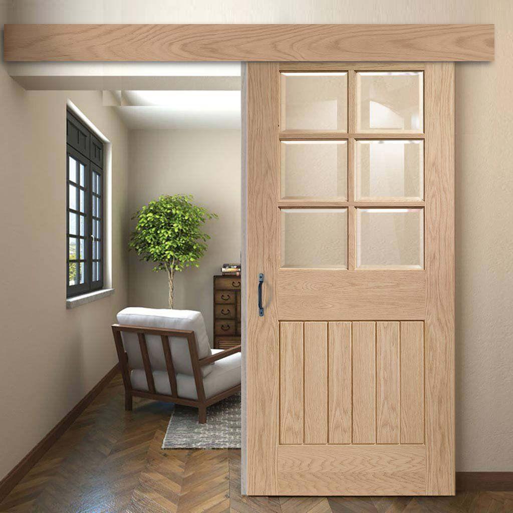 Single Sliding Door Wall Track Suffolk Oak 6 Pane Door