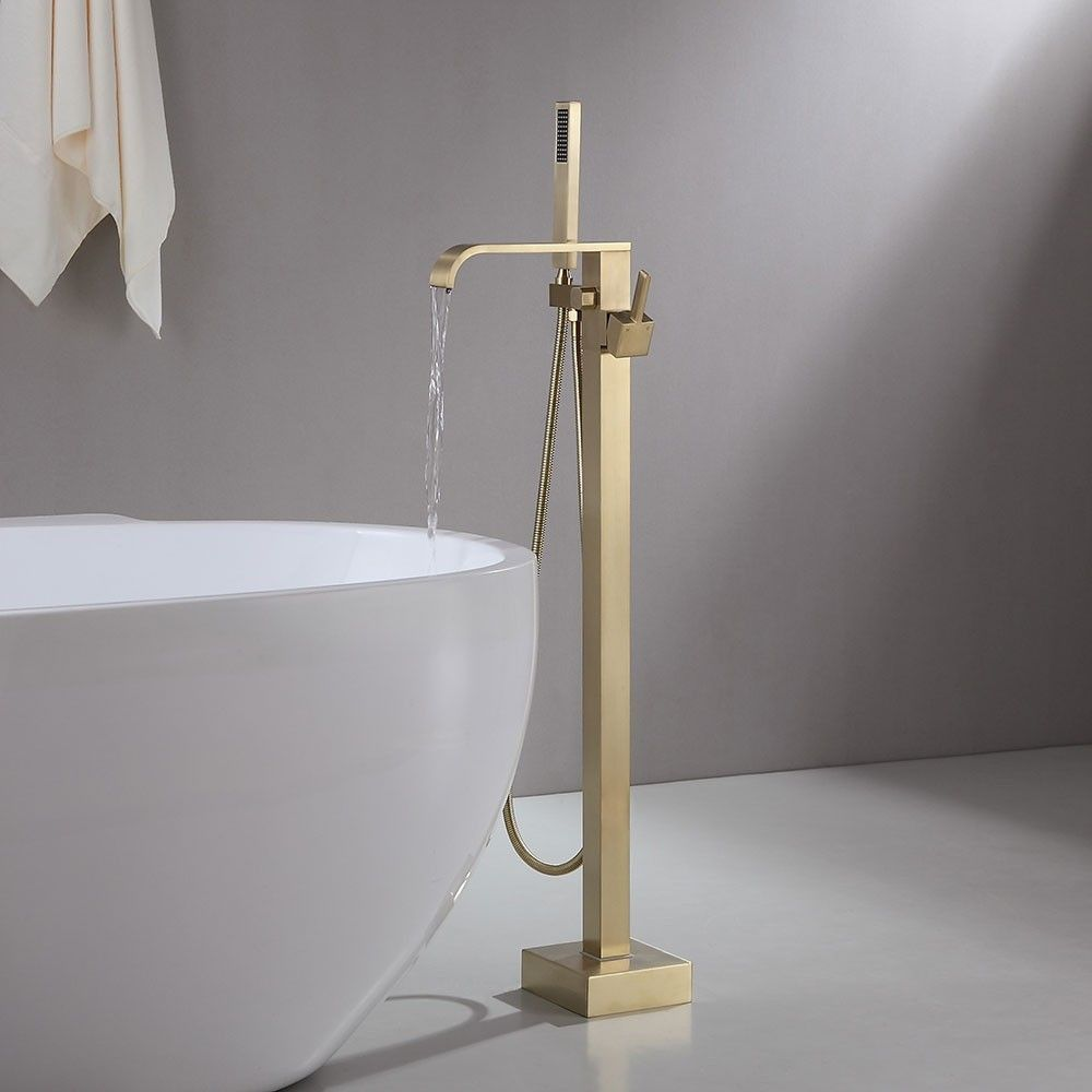 Dree Modern Floor Mounted Tub Filler Brass Single Handle