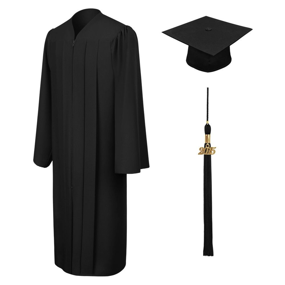 Matte Black Elementary Cap, Gown & Tassel | Graduation Apparel and ...