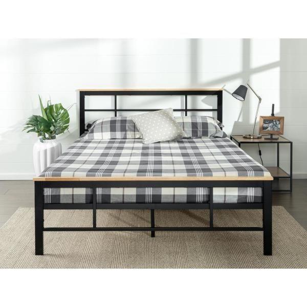Zinus Marcia Metal And Wood Platform Bed Full Black In 2020