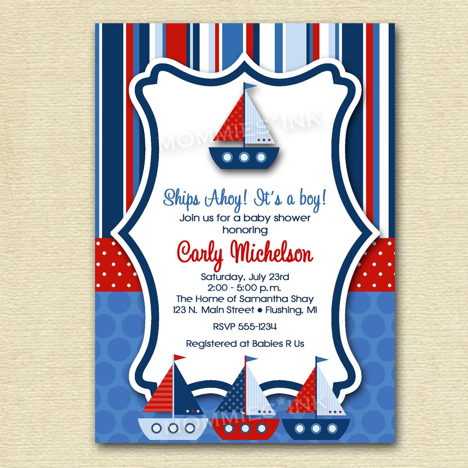 Baby Shower Invitation Ships Ahoy Sailboat